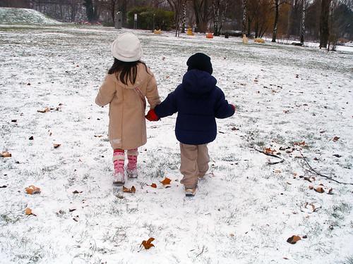 kids walking on snow