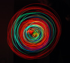 LED spinning and wiggling (Gaetan Lee) Tags: light red orange colour green london lines yellow bulb circle lights december bright streak spin twist line led lumiere round messy curve 2007 emmitting diaode 4oliviashop