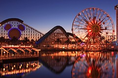 Paradise Pier (A Sutanto) Tags: california christmas ca vacation usa reflection water america fun happy lights evening twilight dusk disneyland disney ferriswheel rides rollercoaster orangecounty themepark thrill californiaadventure sunwheel paradisepier themoulinrouge thrillrides annaheim flickrsbest mywinners abigfave platinumphoto colorphotoaward aplusphoto diamondclassphotographer