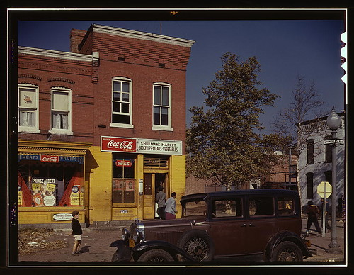 [Car in front of Shulman's Market on N at Union St. S.W., Washington, D.C. (LOC)