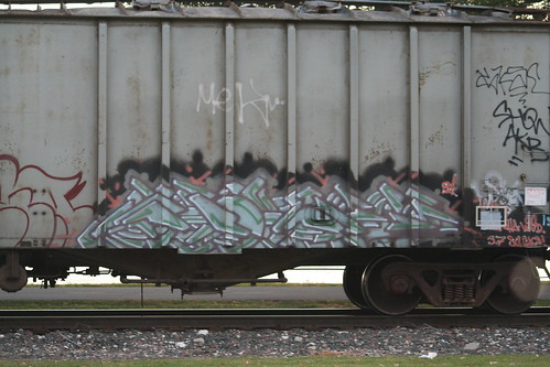 train with graffiti