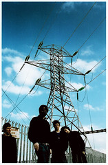 Pylons_046 (Hazeline Photography) Tags: county ireland sky music dublin irish male slr art film vertical clouds four photography photo mask vibrant band dry scanned pylons promotional linear canoneos300v elecronic hazeline hazelinephotography