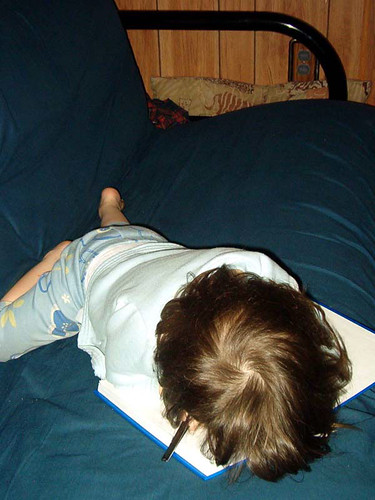 Asleep on a book