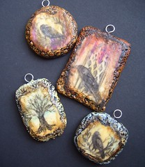 polymer clay pendants (gabriel studios) Tags: original tree texture window nature necklace handmade drawing jewelry ornament clay handpainted crow etsy raven pendant polymer gabrielstudios michelegabrielstudios