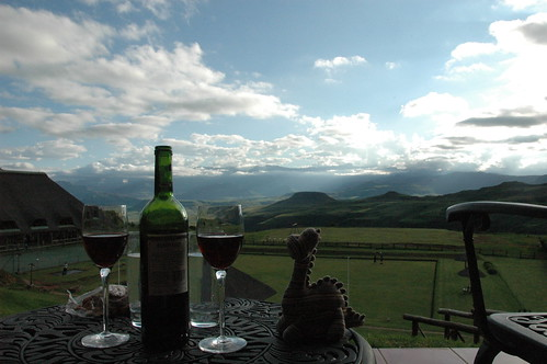Dino enjoying the view with some wine (by Louis Rossouw)