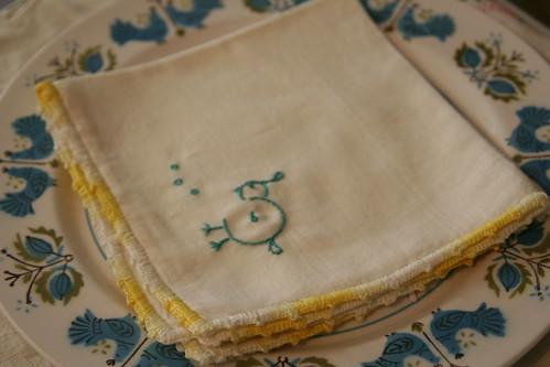 quail napkin embroidery