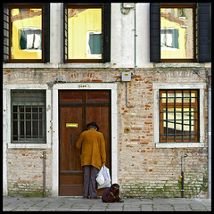 Missing the yellow house (Sator Arepo) Tags: door leica venice windows people dog house yellow facade painting reflex bravo impressionism zuiko vangogh digilux theyellowhouse digilux3 50mmmacroed majicdonkey exploracalafell retofz081021