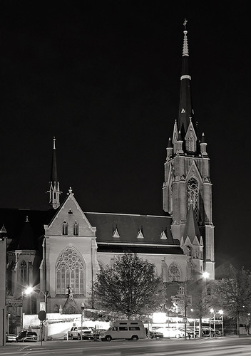 Saint Francis de Sales Oratory, in Saint Louis, Missouri, USA - exterior at night