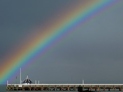 the pier at the end of the rainbow (khanrizzi) Tags: sky colour weather pier rainbow solent yarmouth iow
