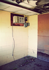 climate control (BoringPostcards) Tags: city urban building abandoned digital entropy tile decay empty alabama cement ceiling airconditioner collapse block suspended cinderblock fauxvintage lanett