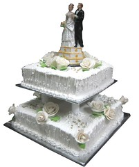 White theme Chocolate 2 tier wedding cake (the Baker & the School) Tags: wedding 2 roses white cake ball golden leaf couple chocolate celebration theme piping tier piller sotas
