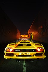 Lamborghini Diablo SV drive-off (AndWhyNot) Tags: light motion yellow movement long exposure driving doors trails andrew giallo diablo lamborghini supercar sv scissor whyte v12 andwhynot 4842