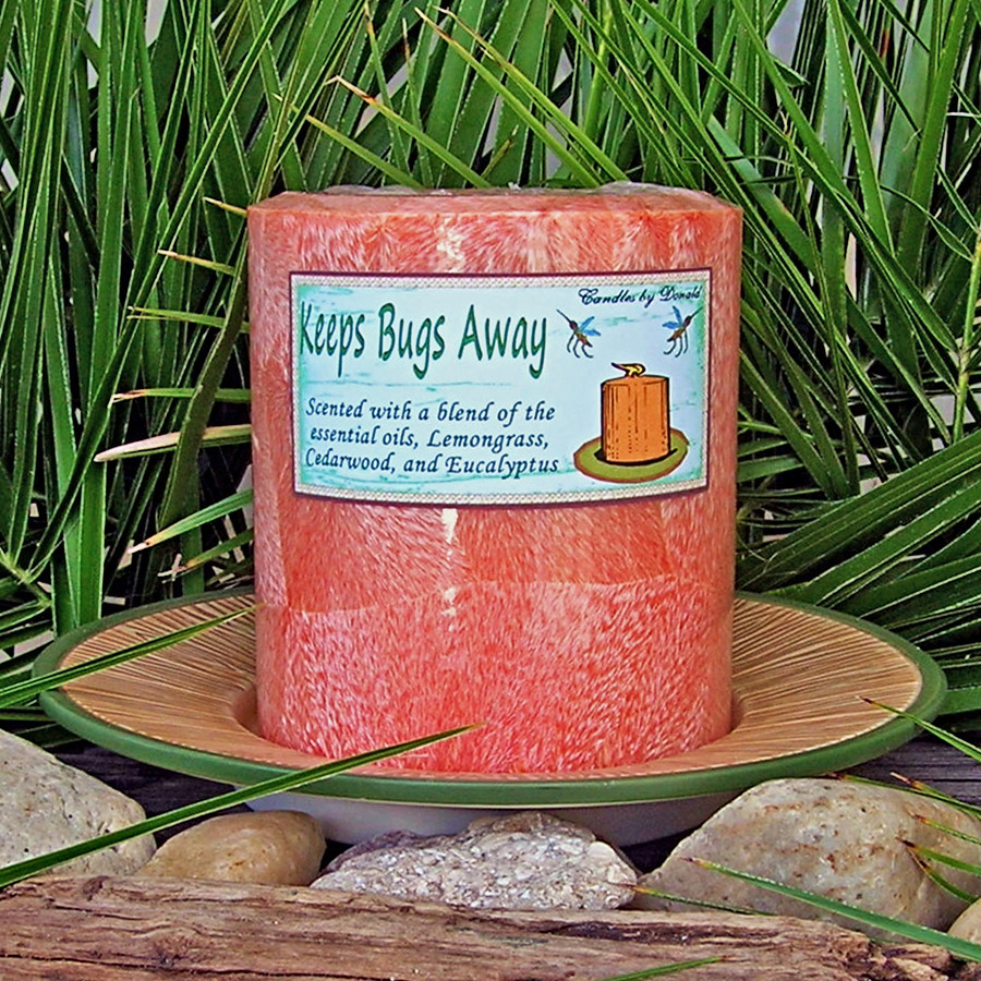 Keeps Bugs Away, essential oil scented natural palm wax pillar candle