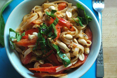 Peanutty Thai rice noodles