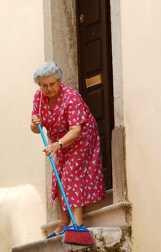 Sweeping the stairs