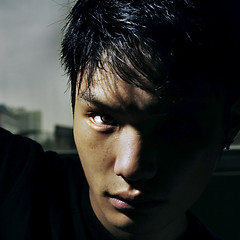 (Arielynn) Tags: boy portrait black male eye face dark shanghai flash chinese headshot redeye