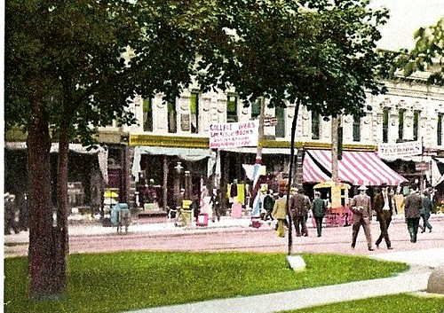 State Street storefronts from U-M campus, 1908; detail of a postcard from the Detroit Publishing Company