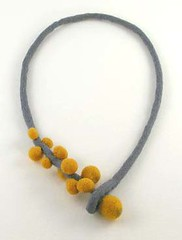 Felted Necklace. (Elsita (Elsa Mora)) Tags: original sculpture wool nature yellow felted one necklace handmade gray felt kind bead organic