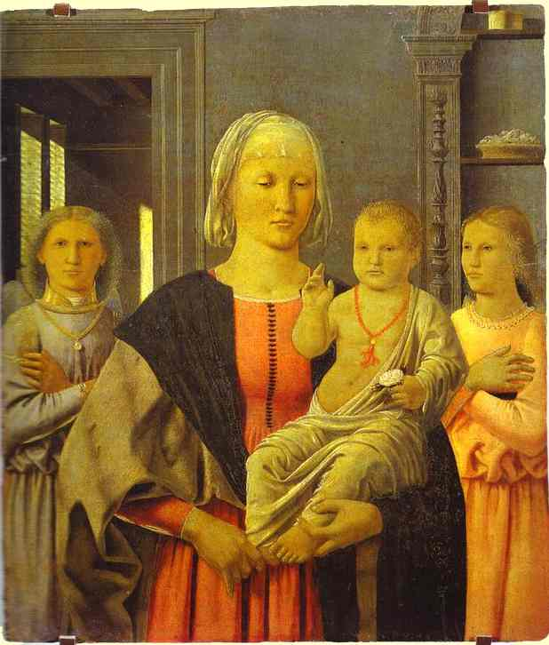 PIERO DELLA FRANCESCA Virgin with Child giving his blessing and two angels (The Senigallia Madonna). c1470