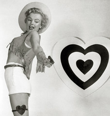 marilyn valentine holdup (carbonated) Tags: ladies bw holiday garter vintage gun famous celebrities cowgirl valentinesday holidaypinup fringedvest