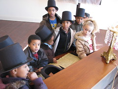 Young Lincoln scholars learn about the Emancipation Proclamation at President Lincoln's Cottage.