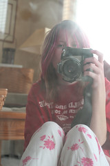 Untitled[Day44]* (Chapendra) Tags: pink red selfportrait canon 50mm mirror explore reflected ill pjs year2 roulette yeartwo sick pajamas dirtymirror batterygrip selfwithcamera canonxtrebel 365days sooc