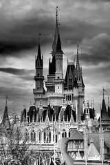 Disney - Cinderella Castle from Pinocchio Village Haus Balcony B&W (Explored)