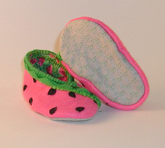 Watermelon Baby Bootie Alternate 2 (Crafty Intentions) Tags: embroidery sew felt watermelon handsewn fleece handstitched sewn babybootie handembroidered microsuede machinestitched