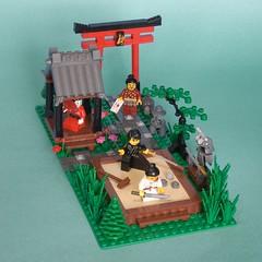 Kaishakunin (ted @ndes) Tags: japan photoshop garden lego ninja geisha zen samuri torii minifigure moc seppuku bushido kaishakunin