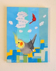 Let's see which of us is taller (YokosGallery) Tags: blue portrait sky cloud pets abstract art birds painting paper funny acrylic cardinal originalpainting azure canvas cockatiel etsy skyblue yokosgallery