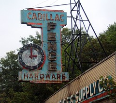 Cadillac Fence Co sign on Plymouth Rd in Downtown Detroit (DetroitDerek Photography ( ALL RIGHTS RESERVED )) Tags: blue summer favorite usa clock sign shop fence hardware decay michigan name urbandecay detroit rusty plymouth cadillac business faded weathered aged title amateur globalvillage 2007 aplusphoto aclassphoto flickrphotoaward excapture