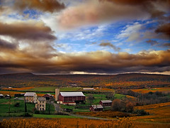 Flanked (Nicholas_T) Tags: autumn sky clouds rural landscape lowlight dusk pennsylvania farm creativecommons berkscounty bluemountain stratocumulus greatvalley kittatinnymountain oldroute22 windsortownship oldusroute22