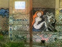 Mural.  [Cellphone series] (Vince Alongi) Tags: cameraphone uruguay graffiti snapshot cellphone montevideo trashbit motorolal6i