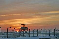 Guardtower at Birkenau (HorsesItch) Tags: winter sunset camp sky cold concentration wire image poland huts auschwitz birkenau guardtower