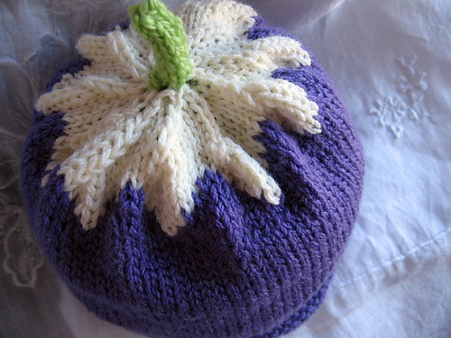 purple flower hat from the top