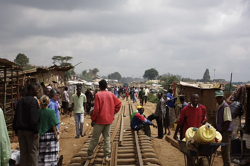 Train track in Kibera