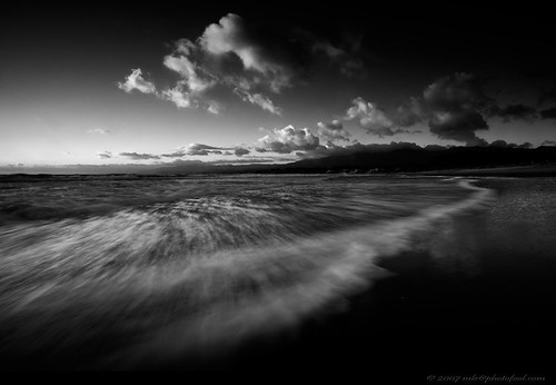 seascape twilight beach wave cloud sunset bw santabarbara california photofool