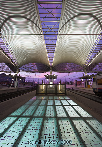 Leuven railway station at sunset