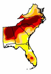 """darkest areas are in """"exceptional"""" drought, red areas in """"extreme"""" conditions"""