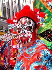 Dragon Man (spiky face) Tags: pink red colour green up yellow close sydney vivid chinesenewyear facepaint yearoftherat colourartaward goldstaraward goldenheartaward