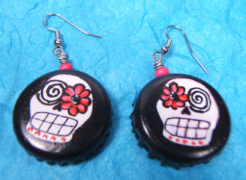 Day of the Dead Bottlecap Earrings by yayascaps.