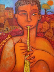 Village Musician (Paul N Grech) Tags: musician music art painting village instrument oil cubist cubism paulgrech