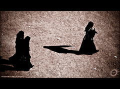 Shadows of our time (Yug_and_her) Tags: life light india black students photoshop walking sand women shadows dress candid muslim islam hijab ground adobe hyderabad incredible oldcity charminar lightroom burkha andhrapradesh yuga 50millionmissing superbmasterpiece tammareddy yugandhar