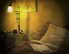 deadline (lesbru) Tags: photoshop 50mm domestic lamplight bedside workinglate d40x