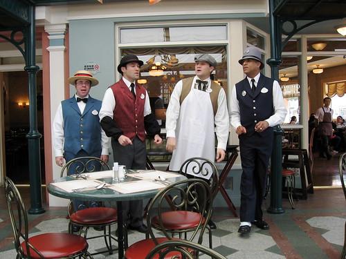 Guys singing quartet at the restaurant
