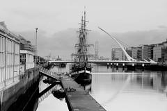 dublin port 4-2-15 (Martin J Murphy Photography) Tags: dublin ireland dublincity northquays ship riverliffey 2015 bnw bw 5dm3 5dmark3 24105mml quays bridges liffey