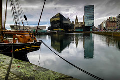 Canning Dock, Liverpool (stephenbryan825) Tags: canningdock liverpool mannisland royalliverbuilding buildings glass reflection selects water