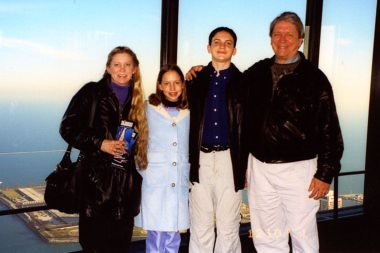 Homeschool High School For Will allowed for trips to the Sears Tower in Chicago during the U.S. Junior Nationals Figure Skating Championships, 2001. Deb, Christina (11), Will (16), and Terry.