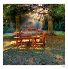 8240 - Enlightenment (M R Fletcher) Tags: morning autumn cold castle gardens bench frost seat frosty northumberland langley autumnal markfletcher onlythebestare