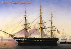 postcard - from rissyrissy, US (Jassy-50) Tags: usa boat ship postcard postcrossing ussconstellation oldprint vintagereprint